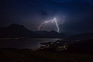 Lightning over the Traunsee