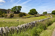 Yorkshire Dales and the ruins of an old castle