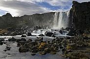 Waterfall at Thingvellar - Iceland