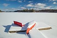 Little red canoe in Winter