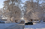 Winter snow on country roads - England