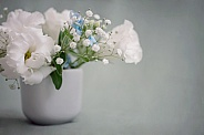 Delicate white flowers on grey