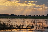 Sun rays over the Chobe River - Botswana