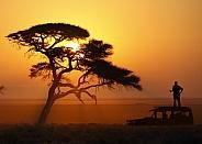 Sunrise in Etosha National Park in Namibia