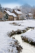 Winter snow in an English village