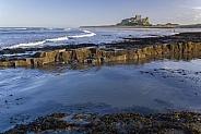 North Sea coast and Bamburgh Castle