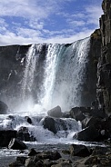 Waterfall in the rift valley at Pingvellir - Iceland