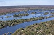 Aerial view of the Zambezi River - Zimbabwe