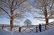 Farmland and Winter snow