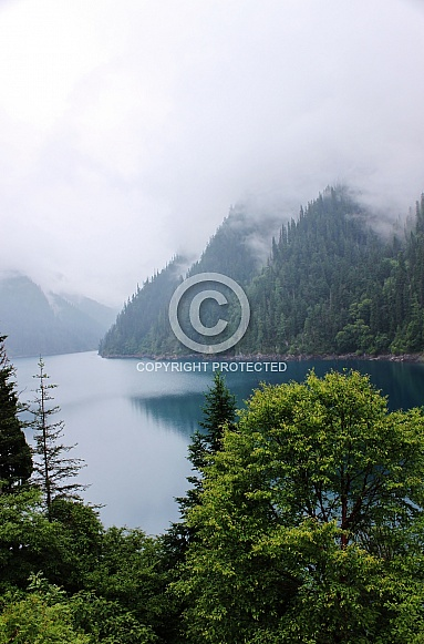 Foggy Lake with Mountain