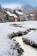 Winter snow in an English village