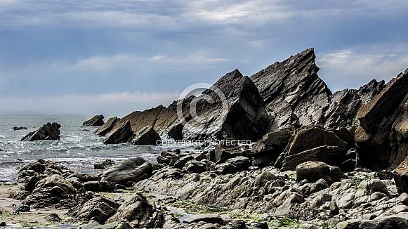 Marloes Sands - Jagged Rocks, Moody Skies